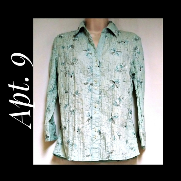 Apt 9 Crinkle Button Down Top Mint Green Size Med